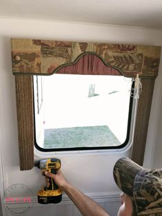 How to remove outdated RV window coverings from your camper. It's easy to remove rv window valances and let light in! interior How To Remove Outdated RV Window Coverings Deep Cleaning Tips, House Cleaning Tips, Cleaning Hacks, Camper Curtains, Valance Curtains, Window Valances, Burlap Curtains, Shelter, Camper Windows