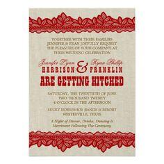 Rustic Burlap & Red Lace Wedding Invitation