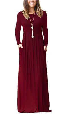 online shopping for FOMANSH Women Long Sleeve Maxi Dress Round Neck Loose Plain Casual Long Dresses With Pockets ? from top store. See new offer for FOMANSH Women Long Sleeve Maxi Dress Round Neck Loose Plain Casual Long Dresses With Pockets ? Long Sleeve Maxi, Maxi Dress With Sleeves, Short Sleeve Dresses, Long Dresses, Winter Dresses, Dress Pockets, Dress Long, Short Sleeves, Cap Dress
