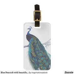 Blue Peacock with beautiful tail feathers Luggage Tag