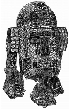 Renewed Bliss — This epic zentangle was done by Cheryl Edwards Humphreys!! You can see more of her work on her Facebook and Etsy site hookintothebeat . A clickable link is in the comments where you can buy a digital download of this drawing for all your young Jedi! https://www.etsy.com/listing/247151737/digital-download-zentangle-star-wars-r2