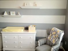 Our Yellow Gingham Bin coordinates perfectly with this nursery's color theme.