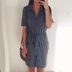 James Perse • Gray Tie Shirt Dress Gently loved! Button up tie shirt dress with deep V. In great condition. Incredibly soft and comfortable. Perfect for work or running around.  ✅Make me an offer through the offer tool!  ❌No trades ❌No PayPal ❌No asking for the lowest price James Perse Dresses