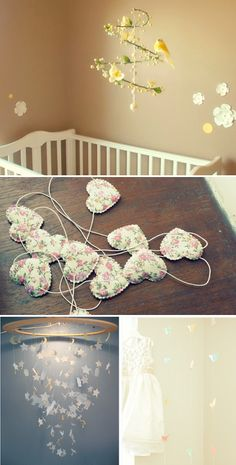 baby mobiles. I love this idea of mobiles sooo cute!!