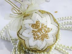 Gold Christmas ornament,  fabric Christmas ornaments, quilted ornaments, shabby chic ornament, xmas ornamnets, xmas baubles, quilt