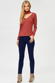 Ribbed Choker Neck Long Sleeve Sweater Relaxed through the chest, arms and waist. Hand wash Made in the united states Material: Rayon Polyester Spandex Marina Laswick, Neck Choker, Long Sleeve Sweater, Chokers, Skinny Jeans, Sweaters, Pants, Fashion, Choker