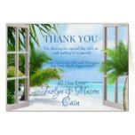 Tropical Wedding Beach Scene Thank You Card...
