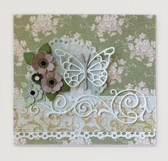 Card flowers leaf leaves punched homemade,  Butterflies Memorybox pippi butterfly die MFT formal flourish Die-namics #mftstamps Tilda The Seaside Life paper pad collection #tilda - JKE