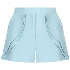 Elie Saab Tailored Ruffle Shorts (615 JOD) ❤ liked on Polyvore featuring shorts, bottoms, pants, short, shiny shorts, elie saab, short shorts, ruffle shorts and flounce shorts