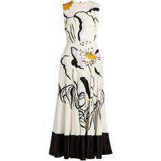 Roksanda Camillo floral-print silk midi dress (68.290 RUB) ❤ liked on Polyvore featuring dresses, white multi, white silk dress, floral midi dress, a line dress, summer dresses and silk neck ties