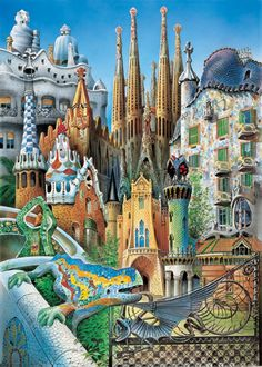 This is a piece of artwork which has taken a lot of Gaudis work and created one collage of his work. I like this idea and could take some buildings I have researched and create one building or piece of work.