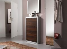 Contemporary Canta 3 Door Shoe Cabinet in Various Finishes