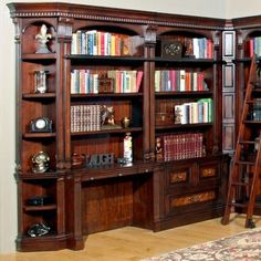 Astoria Grand Ramsey Library Writing Desk with Hutch in Brown