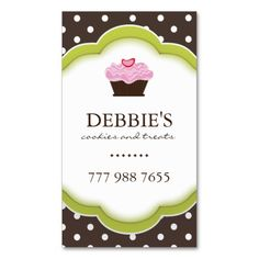 Whimsical Bakery Business Cards. I love this design! It is available for customization or ready to buy as is. All you need is to add your business info to this template then place the order. It will ship within 24 hours. Just click the image to make your own!