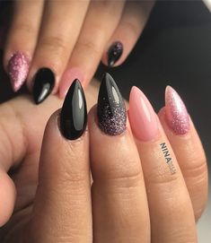 #blacknails #pink #stilettonails #notmywork Black Nails, Stiletto Nails, Pink, Rose, Black Nail, Roses, Black Manicure, Pointed Nails