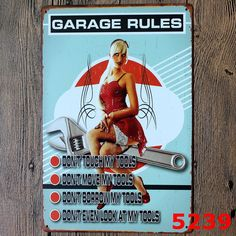 My Garage My Rules Dependable Service Tire Shop Auto Parts Gas Spark Plus Pop Art Poster Sign  Resellers welcome. Subcribe to our mailing list for updates on new items.  Promote our products and earn same day commissions: spree.to/?u=14mq