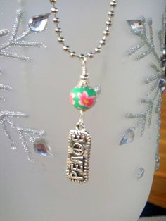 Polymer Clay and Peace Dangle Beaded Charm Necklace by CKDesignsUS, $10.00
