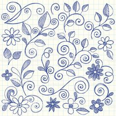 Hand-Drawn Sketchy Notebook Doodle Leaves and Flowers Vector Illustration by - zentangle - Doodle Designs, Doodle Patterns, Zentangle Patterns, Embroidery Patterns, Hand Embroidery, Longarm Quilting, Free Motion Quilting, Machine Quilting, Hand Quilting