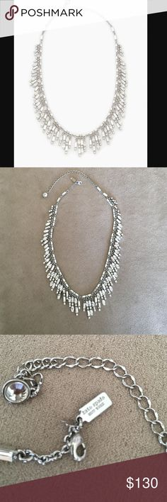 """Kate Spade 'Evening Affair Fringed' Necklace-NWOT Beautiful collar necklace.  Approx 16"""" length and a 3.5"""" extender w lobster clasp closure.  Rhodium plated/crystals.  Bought to wear to a wedding, but forgot it 😔 I still love it though, hard to sell.🚫sorry no trades kate spade Jewelry Necklaces"""