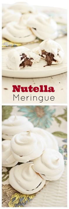 Nutella Meringues - Light and sweet Nutella Meringue. Every bite is filled with thick gooey Nutella. Easy Nutella Meringue recipe that anyon. Sweet Desserts, Just Desserts, Sweet Recipes, Delicious Desserts, Yummy Food, Simple Recipes, Nutella Recipes, Cookie Recipes, Dessert Recipes