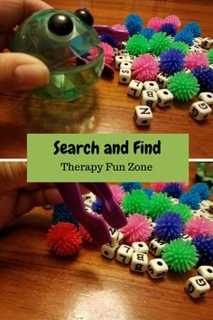 Everyone has those days where you just need to pull an activity out of your bag that is simple and requires no extra preparation. I have quite a few of those types of activities lurking at the bottom of my bag, and a favorite is the alphabet search. It combines visual scanning, fine motor skill, and hand strength all in one simple task. I use alphabet beads and pom poms scattered together on the table to create a visually distracting  {Read More}