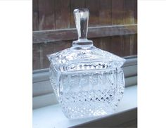 Vintage Lead Crystal Covered Square Sugar Bowl by PuppyLuckArt