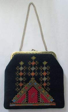 Vintage Red and Black Embroidered Purse with Gold by UnderWired, $15.00