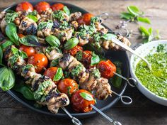 Grilled Lemon-Garlic Chicken and Tomato Kebabs With Basil Chimichurri