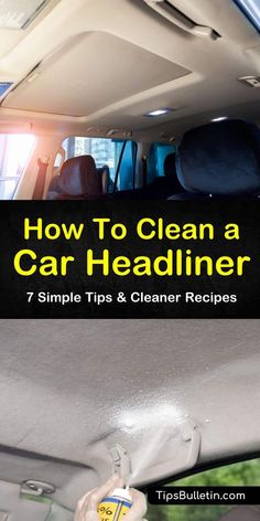 car cleaning We give you step-by-step instructions for cleaning ceilings of your car using various cleaning methods. You can make a DIY cleaning solution using vinegar, baking soda, and water to remove tough stains and bad odors. Diy Car Cleaning, Cleaning Car Upholstery, Diy Cleaning Products, Cleaning Solutions, Spring Cleaning, Car Interior Cleaning, Cleaning Recipes, Cleaning Ceilings, Cleaning Car Windows