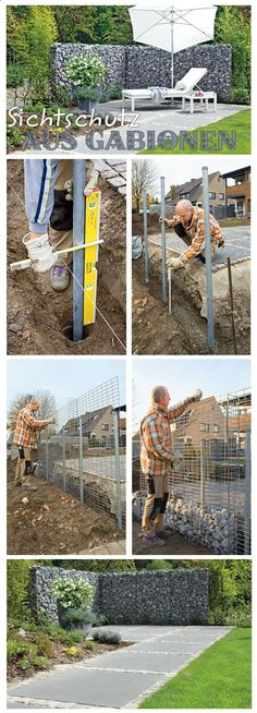 Sichtschutz Gabionen Gabions can be used not only as a decorative element, but also as a privacy scr Gabion Fence, Gabion Wall, Fencing, Backyard Fences, Garden Landscaping, Outdoor Projects, Garden Projects, Fence Design, Garden Design