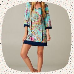 """Host Pick Inspire Me Dress 3/4 length sleeves. Navy trim. Pink, Aqua & Mint Bohemian Design.  Medium is 34"""" long and has a 36"""" bust around the underarms.  The Small has a 33"""" length and a 34"""" bust around the underarms. Tua Dresses"""
