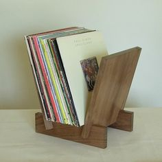Walnut LP record stand by LLTTgoods on Etsy, $200.00