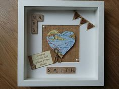 Scrabble art frame Personalised heart Map Wedding location