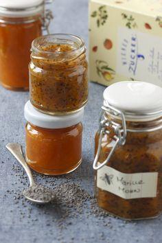 Marille-Mohn Marmelade (Rezept, Einkochen, Einmachen, Marmelade, Konfitüre, Gelierzucker, Selbstgemacht)