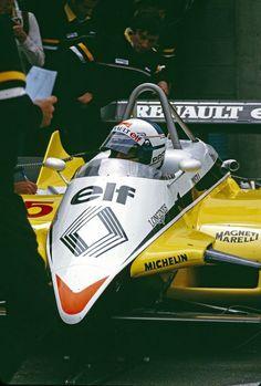Alain Marie Pascal Prost (FRA) (Equipe Renault Elf), Renault RE30B - Renault 1.5 V6 (t/c) (finished 2nd) 1982 Swiss Grand Prix, Dijon-Prenois (France)