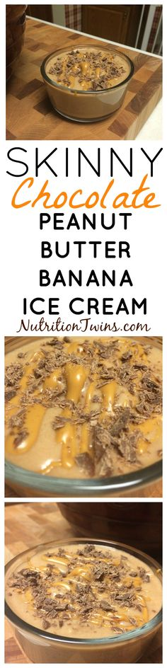 Chocolate Peanut Butter Banana Ice Cream | Only 139 Calories | Insanely Delish & Only 4 ingredients | Great Way To Squash Cravings for Sweets | No sugar added! Naturally sweet & Easy to make | For MORE Inspiration & RECIPES please SIGN UP for our FREE NEWSLETTER www.NutritionTwins.com