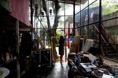 Isablle Tuchbands artist studio at her bohemian home in Sao Paulo