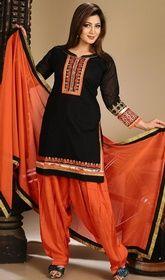 Black Color Embroidered Chanderi Salwar Suit