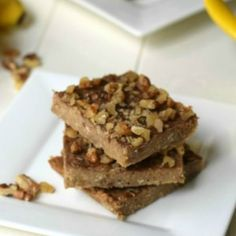 3 Ingredient Peanut Butter Banana Bars Recipe - so simple!  I added 2 T chia seeds, 2 T honey, 1 tsp cinnamon, for extra punch.  Yum!  And spread 1/4c choc chips and 1/4c crushed pecans over the top.  Didn't use quite the full amount of oats.