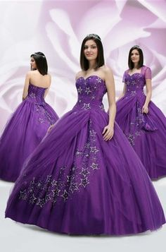 Custom quinceanera dresses in bright colors! These quince dresses can be made in any color. Lots of vestidos de quinceanera to choose from. Ball Gowns Prom, Ball Gown Dresses, 15 Dresses, Pretty Dresses, Fashion Dresses, Wedding Dresses, Evening Dresses, Purple Quinceanera Dresses, Dress Flower