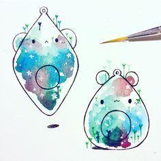 more planetariums ✨ Simple watercolor doodles. Art And Illustration, Illustrations, Character Illustration, Kawaii Drawings, Cute Drawings, Pretty Art, Cute Art, Cute Doodles, Kawaii Art