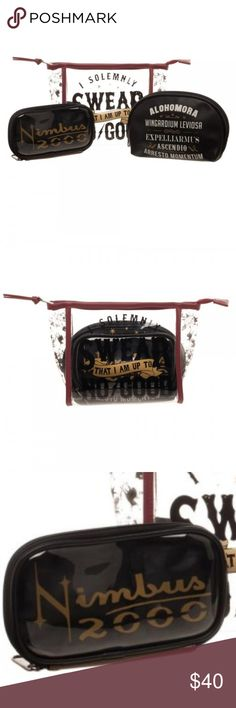 """Harry Potter Makeup 3 Cosmetic Bag Travel Gift Set This is for 1 Harry Potter themed cosmetic bag gift set.  This set comes with 3 different makeup / travel bags.  You get 1 large clear window """"I Solemnly Swear"""" zipper pouch makeup case, 1 zipper pouch that lists various Spells, and 1 clear window zipper pouch that reads """"Nimbus 2000""""  Theme: Harry Potter - Officially licensed Brand: Bioworld Measurements: Largest bag measures approx. 8"""" long x 7"""" tall, 4"""" bottom width  CONDITION - New  Lots…"""