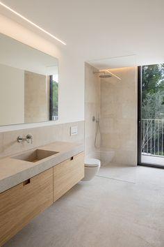 Interior design project at Mallorca by interiorism studio Jorge Bibiloni Studio. AS House Read Bathroom Renos, Laundry In Bathroom, Bathroom Layout, Bathroom Renovations, Small Bathroom, Earthy Bathroom, Floating Bathroom Vanities, Stone Bathroom, Bathroom Ideas