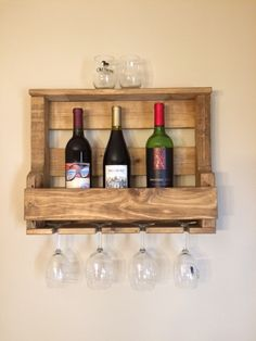 Rustic Wall Mount Wine Rack with 5 Glass Holder and Shelf ...