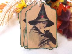 Vintage Witch and Cat Halloween Gift Tags // Set of 6  https://www.etsy.com/listing/202238317/vintage-witch-and-cat-halloween-gift?ref=shop_home_active_15