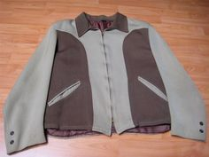 VINTAGE 1940'S/1950'S TWO-TONE WORKWEAR ROCKABILLY JACKET -L- NR