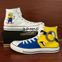 Converse Shoes Painted Despicable Me Minions High Top Canvas Sneakers
