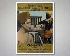 Cleopatra Movie Poster - Elizabeth Taylor Richard Burton - Poster Paper Sticker or Canvas Print