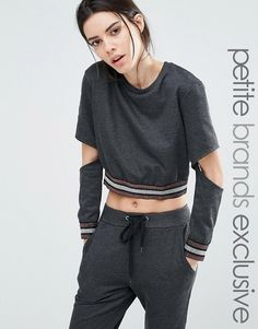 One Day Petite | One Day Petite Metallic Ribbed Sweat Top With Cutout Elbow