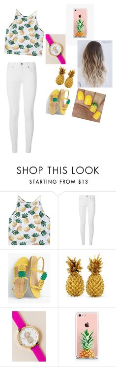 """""""Pineapple😉"""" by gabrielagabi-i ❤ liked on Polyvore featuring Burberry, Talbots, Francesca's and The Casery"""